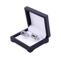 Wholesale Jewellery Box Black - black plastic men's fashion cufflink box for gift, gift boxes jewellery box Storage box good quality CTB006