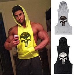 Wholesale Men Clothing Cotton Pullover Hoody GYM Hoodie Cotton Vest with Hat Gym Shark Skulls Sporting Tank Top Tshirt for Men Gymshark