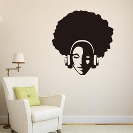 Wholesale Headphones Wall Decal - 57x60cm Afro Hair Hip Hop Headphone Portraits Vinyl Wall Stickers Removable Art Mural for Home Decoration Kids' Bedroom