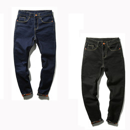 Wholesale Men S Big Feet - Wholesale-Jeans Men 2016 Autumn Simple Black  Blue Skinny Jeans Men Stretch Jeans Big Tall Trousers Feet Pants Long Jeans for Mens PT10