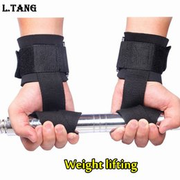 Wholesale Wholesale Wrist Strap Weightlifting - Wholesale- Fitness Weight Lifting Straps Sports Wrist Support Weightlifting Gloves Protector Gym Weight Lifting Straps S093