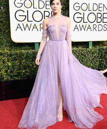 Wholesale Celebrity Skirts - 2017 Hailee Steinfeld Light Purple Evening Dresses with Pleats O Neckline A-Line Skirt Long Sleeves Floor Length Celebrity Gowns