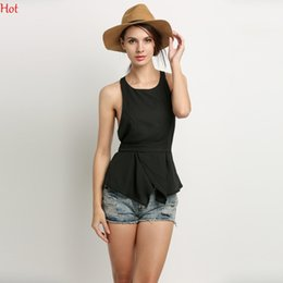 Wholesale Ladies Backless Blouse Style - New Stylish Lady Chiffon Blouse Women's Blouse Sleeveless Summer Style Tops O-neck Party Leisure Backless Blouse Tank Top Black SV024454
