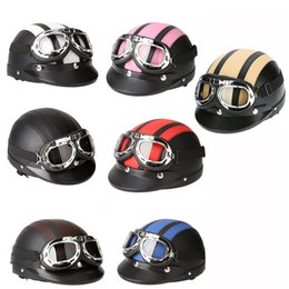 Wholesale Black Scooters - Wholesale- Motorcycle Scooter Open Face Half Leather Helmet with Visor UV Goggles Retro Vintage Style 54-60cm for Security Accessories