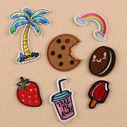 Wholesale Strawberry Iron Patch - 7pcs set Strawberry Icecream Rainbow Iron On Patches Fruit Embroidered Applique Badge Bag Clothing Shoes Sewing Crafts DIY