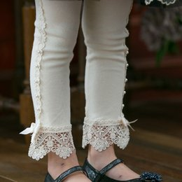 Wholesale Girl Lace Tights - 2017 New Springs Children Princess Leggings Girl Beaded Lace Cotton Leggings Kids Bottoms Children Tights & Leggings