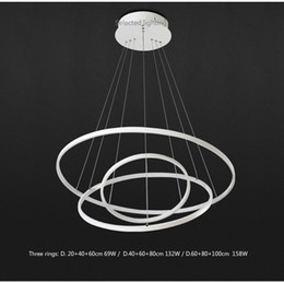 Wholesale Gu4 Led Energy Saving - Modern pendant lights for living room dining room 3 2 1 Circle Rings acrylic aluminum body LED Lighting ceiling Lamp fixtures