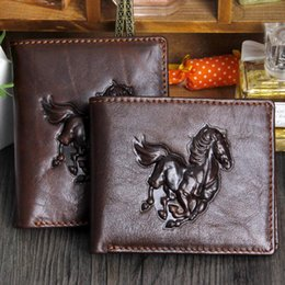 Wholesale Trendy Fashion Brands For Men - Trendy Brand 3D Embossing Horse Pattern Notecase Genuine Cowhide Leather Wallet Cards Holders Coin Purses for Men