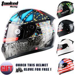 Wholesale Motorcycle Helmets Brands - Wholesale- Brand Motorcycle full face helmet moto adult mens cascos capacete helmet motorbike motocross helmets dual lens tanked T129