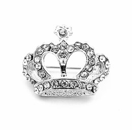 Wholesale Queen Small - Yiwu Factory Wholesale Top Qulity ! Gold Silver Plated Mix Color Rhinestone Crystal Small Crown Brooch Pin For All Age Pageant Queens