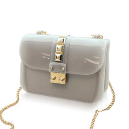 Wholesale Mini Jelly Bags - Wholesale- CHICHI Designer Clear Candy Jelly Bag 2016 Women Messenger Bags Summer Beach Mini Chain Crossbody Rivet Transparent Handbags