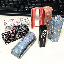 Wholesale Small Lip Balm Tubes - New Mirrored Portable Small Jewelry Travel Case High End Floral Vintage Empty Lipstick Storage Box Lip Balm Packaging Tubes 12pcs lot