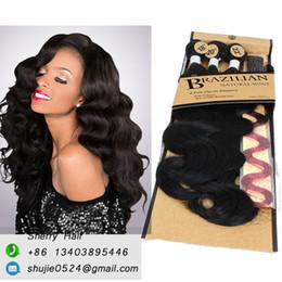 "Wholesale Synthetic Brazilian Weaving Hair - Brazilian Hair Weave Bundles Synthetic Weft Body WAVE with Closure Natural black 1B 100% Premium Hair 18""20""22 3bundles +1closure+hairpieces"