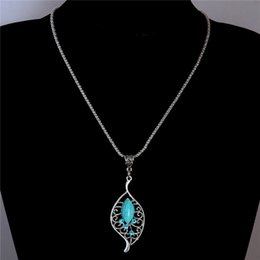 Wholesale Turquoise Leaf Necklace - Wholesale-Free Shipping Rhinestone Crystal Leaf Pendant Necklace Vintage Turquoise Necklace costume Jewel Sweater chain TL198