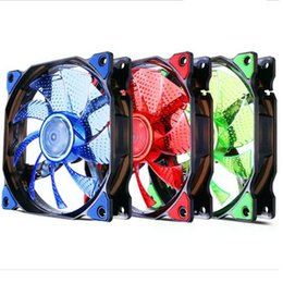 Wholesale Quiet Case Fan - 120mm LED Ultra Silent Computer PC Case Fan 15 LEDs 12V With Rubber Quiet Molex Connector Easy Installed 12cm Computer Cooling Cool Fan