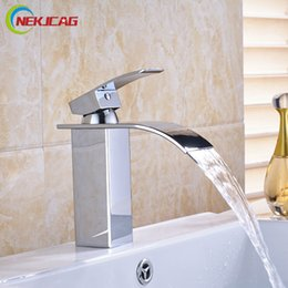 Wholesale Waterfall Bathroom Vessel Sink Faucet - Wholesale- Chrome Finished Waterfall Brass Hot Cold Water Basin Faucet Bathroom Vessel Sink Mixer Taps Single Handle