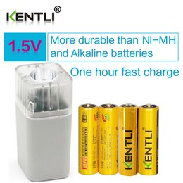 Wholesale Aa Batteries Alkaline - 4pcsKENTLI1.5vAAPM52400mWhRechargeableLi-ionLi-polymerLithiumbattery+4slotsUSBsmartAAAAAFlashlightCharger