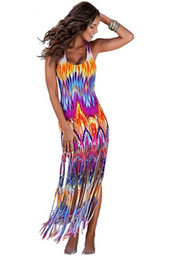 Wholesale Sleeveless Bohemian Beach Tank Dress - Women Tassle Beach Wear Bohemian Dress Flame Print Sleeveless Hippie Boho Hawaiian Dresses Tie Dye Ankara Dashik Tank Top Bodycon Vestidos