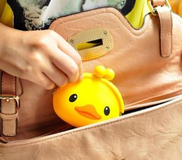 Wholesale Silicone Coin Wallet - Wholesale- Kawaii 10*7CM Yellow Duck Little Silicone HAND Coin Purse & Wallet Pouch Case BAG Women Bags Pouch Beauty Holder BAG Handbag