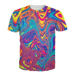 Wholesale flash oil - Wholesale- Brand Clothing Colorful Dye Oil Painting 3D Printing T Shirt Men Fashion T-Shirt Hip Hop Harajuku Tshirt Homme Camiseta