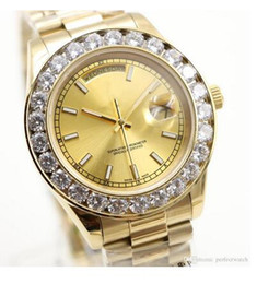 Wholesale Mens Big Faced Watches - Top fashion Luxury mens watch AAA Big diamond Gold face full Stainless steel original strap Automatic movement mens Watches swa004