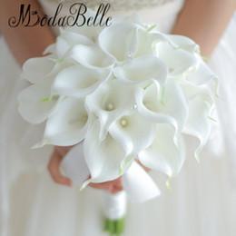 Lilienkristall online-Jahrgang 2018 benutzerdefinierte weiße Calla Lily Bouquet Hochzeit Blumen Crystal Hand Braut Blumen künstliche Hochzeitssträuße Dekor