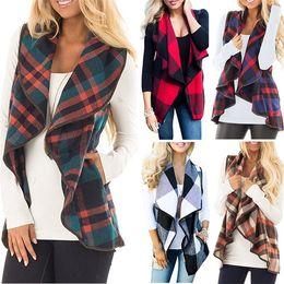 Wholesale Cotton Lycra Shirts Wholesale - Women plaid woolen Jacket Vest Sleeveless Cardigan Shirt Lapel Plaid printed Winter Coat fashion casual women Red Plaid Waistcoat