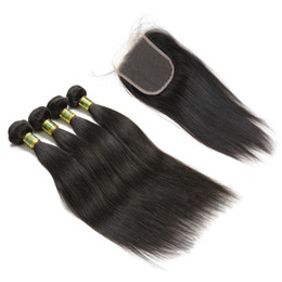 Marrón brasileño recto pelo tejido online-4 paquetes con encaje de cierre de color 2 4 Dark Brown Silky Straight pelo Weave Bundles Raw Virgen indio brasileño cabello extensiones