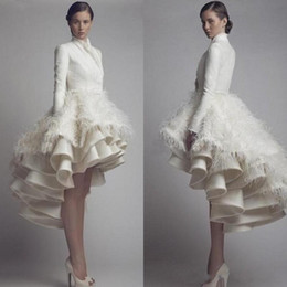 Wholesale Feathered Layered - High Collar Long Sleeves Taffeta High Low Wedding Gowns Layered Ruffles Luxury Bridal Gowns with Feather Modest Party Special Occasion Dress
