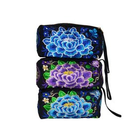 Wholesale Embroidery Wallets - 2016 2017 flower wallet China Yunnan National zero wallet bag embroidered embroidery ethnic wind small three pull his hand bags
