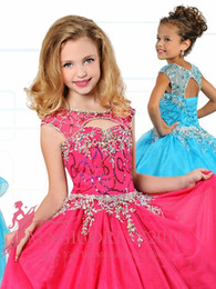 Wholesale Turquoise Dresses For Girls - 2016 Ritzee Girls Ball Gowns Fuchsia Turquoise Girls Pageant Dresses Jewel Major Beaded Puffy Floor Pageant Dresses For Girls Custom Made