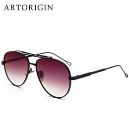 Тонкие стекла онлайн-Wholesale- ARTORIGIN Mens Sunglasses Aviation Style With Fine Pattern Punk Style Flat Mirror Glasses Shades AT876