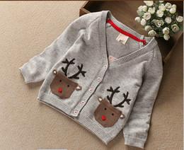 Wholesale Cartoon Clothes Button - Unisex cotton cardigan sweater children cartoon little deer pockets long sleeve buttons knitting sweater autumn new kids clothes C0558