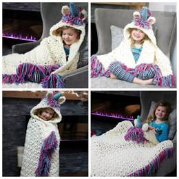 Wholesale Kids Hooded Blankets - Baby Unicorn Cloak Blankets Hooded Hat Knitted Tassel Cartoon Swaddling Kids Sofa Soft Bedding Warm Blanket OOA3612