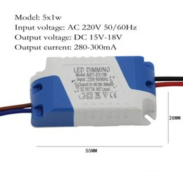 Wholesale Constant Current Led Power Supplies - LED Dimmer Driver 5X1w 300mA 5W Constant Current Power Supply AC 110V 220V For Dimmable LED Bulb Ligh