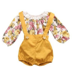 Wholesale Girls Suspender Pants - Floral Newborn Baby Girls Sets Autumn Romper Toddler Princess Sets Long Sleeve Romper Suspenders Short Pants 2pcs Sets C2052