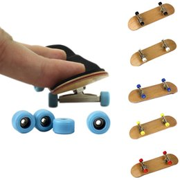 Wholesale Skateboard 12 Wheels - 2017 Hot Professional Maple Wood Finger Skateboard Alloy Stent Bearing Wheel Fingerboard Novelty Toy For Christmas Xmas Gift