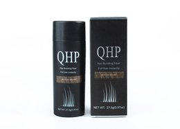 Wholesale wholesale hair fibers - QHP Hair Building Fibers Wholesale 5Pcs lot Best Salon Barber Instant Hair Styling Powder Thickening Keratin Hair Fibre Concealer 27.5g