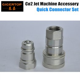 Wholesale Spare Heads - Co2 Jet Machine Quick Connector Silver Color Male Female Aluminum Head Cheap Price Co2 Jet Accessory Spare Parts TIPTOP Stage Lights