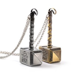 Wholesale Prop Hammer - avengers Thor Necklace Thor The Dark World Hammer Pendants Necklace for men cosplay props statement jewelry Movie Jewelry vs Hobbit 160561