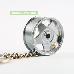 Wholesale Rims Keychain - 5PCS Lot Alloy Car Auto Sports Wheel Rim Mini Keychain Key Chain Keyring Pendent Borbet Design A