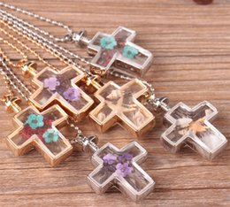 Wholesale Glass Cross Pendants For Necklaces - hot! 2017 new fashion cross crystal candle glass pendant necklace DIY handmade gold and silver retro necklace jewelry for women accessories