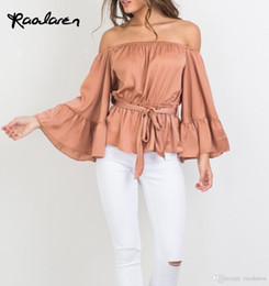 Wholesale Pink Ruffle Blouse Top - Sexy Off Shoulder Ruffle Satin Blouse Shirt Soft Flare Sleeve Bow Summer Tops Elegant Glossy Pink Women Blouses