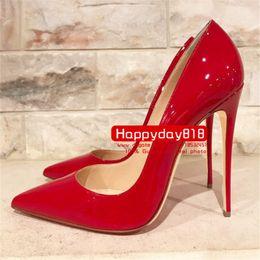 Tacones altos botas rojas para mujer online-Envío gratis moda mujer bombas Red Patent High Heels zapatos botas cono tacón 120 mm cuero genuino