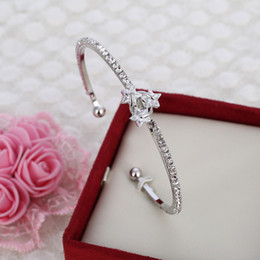 Wholesale Thin Bracelets Crystal - Wholesale- Fashion Silver Plated Thin Bracelet Crystal Star Cuff Bracelet Best Gift For Women Free Shipping Bracelets