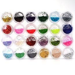 24 Sparkle Glitter Polvere di polvere Hexagon Nail Art Decoration 1mm da
