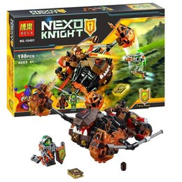 Wholesale Super Heroes Minifigure - Nexo Knights Super Heroes Moltor`s Lava Smasher Building Block Moltor Aaron Minifigure Bricks With Weapon Toys For Children