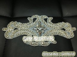 Wholesale Wholesale Sew Rhinestones Cheap - Luxury & Fashion10pcs lot Costume Wedding Dress Cheap Applique Crystal Rhinestone Sewing On DIY Bridal Sash Accesories