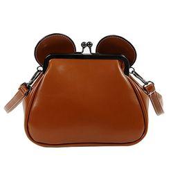 Wholesale Clutch Frame Purse - Wholesale- New Women Crossbody Bag Famous Brand Leather Clip Mouse Ears Chain Shoulder Messenger Bag Girls Funny Clutch Purse Handbag Li623