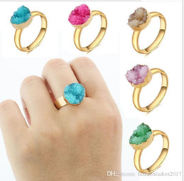 Wholesale Gold Drusy Ring - New Natural Stone Druzy rings for women Fashion boho bohemian designer gold plated drusy opening ring jewelry gift C660